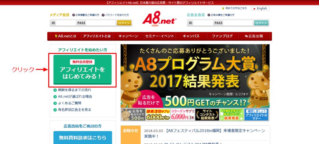 a8net登録画面